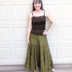 ANTHROPOLOGIE fei olive tiered silk maxi skirt 4
